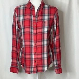 SO Red Plaid Flannel Button Down Shirt Size Small